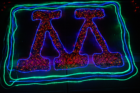 University of MN logo made in Holiday lights