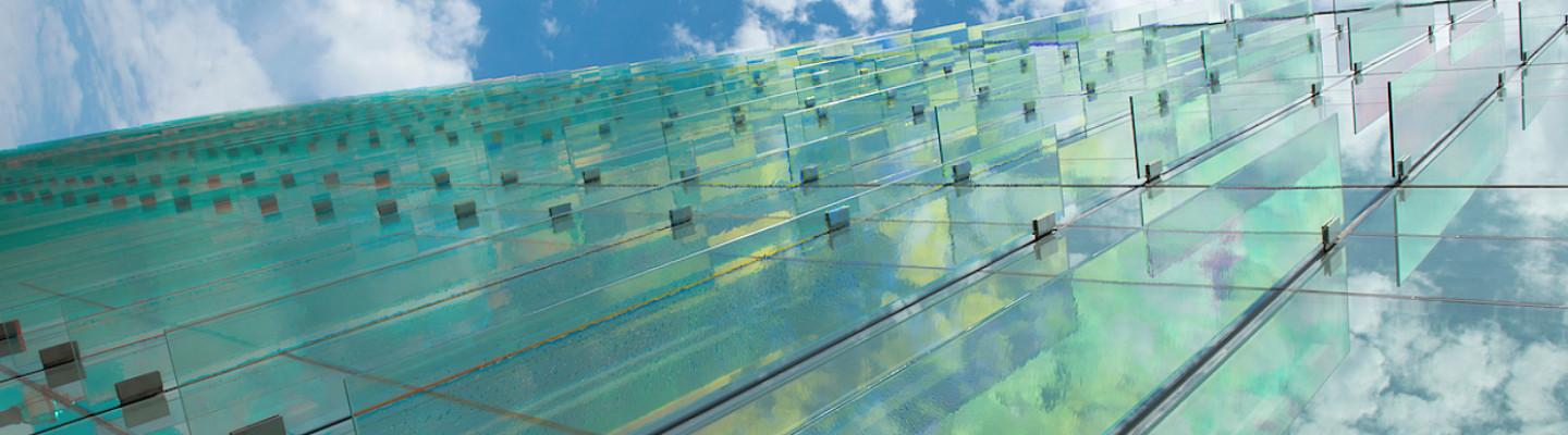 Glass panels against the sky