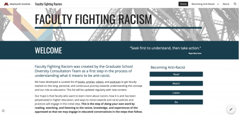 Screenshot of Faculty Fighting Racism site